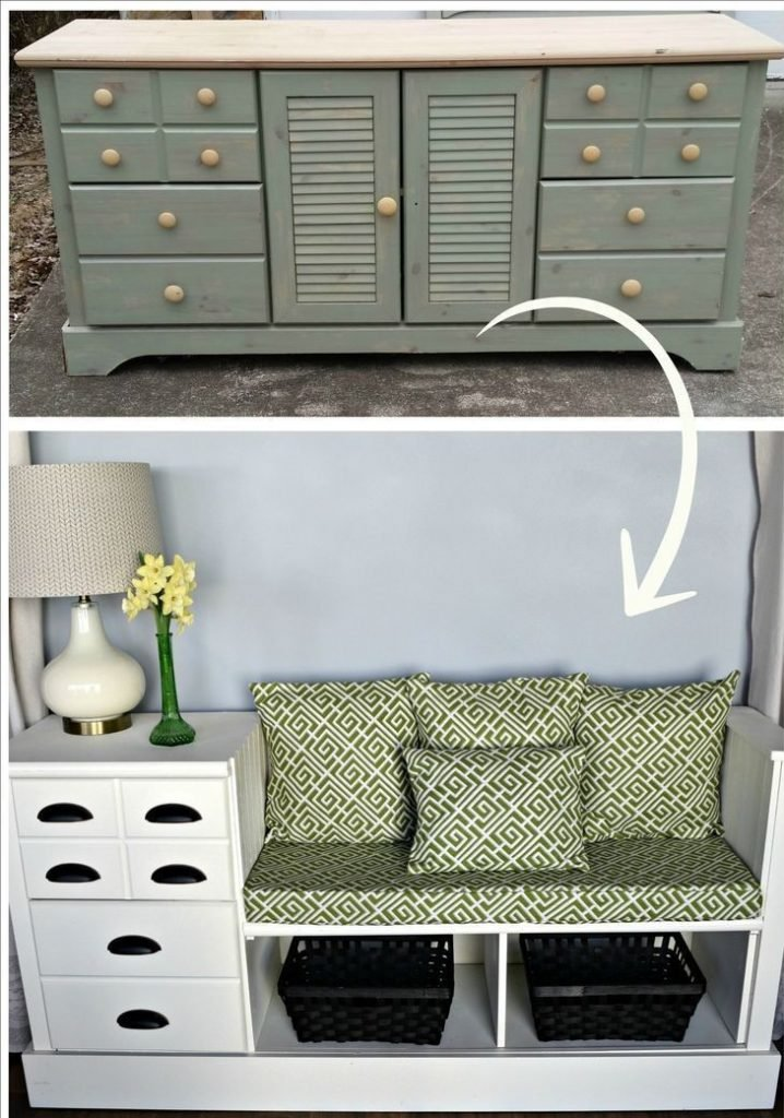 Upcycled Sideboard re-imagined as a bench